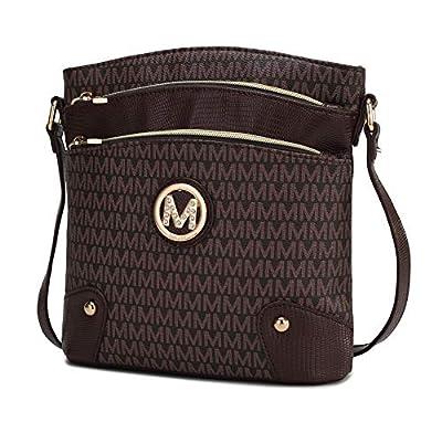 MKF Crossbody Bag for Women – PU Leather Pocketbook Handbag Multi Compartment Messenger Purse – Shoulder Strap Brown