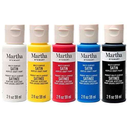 Martha Stewart, vernici acriliche satinate, 59 ml, colori primari, lotto di 5 flaconi, alta gamma