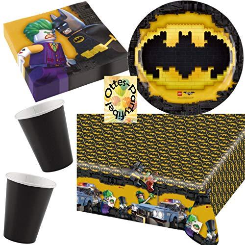 HHO Lego Batman Movie Partyset 55tlg. Teller Becher Servietten 2 Tischdecken Girlande für 16 Kids