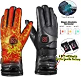 JINGOU Heated Gloves, 7.4V 4000mAh Rechargeable Battery Heated Leather Gloves for Men Women Waterproof,Fast and Long Time Heating Thermal Gloves Electric Gloves for Motorcycle Skiing Gloves (Black)