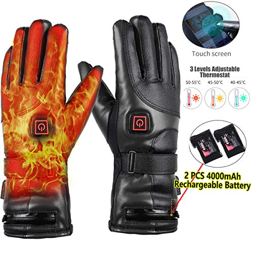 Heated Gloves, 7.4V 4000mAh Rechargeable Battery Heated Leather Gloves for Men Women Waterproof,Fast and Long Time Heating Thermal Gloves Electric Gloves for Motorcycle Skiing Cycling Riding Gloves