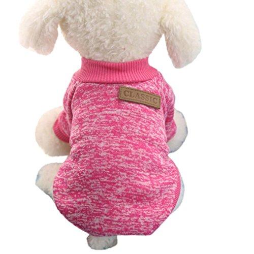 Classic Vestiti del Cane Vestiti Caldi Cucciolo Vestito Pet Cappotto del Rivestimento di Inverno Vestiti del Cane Maglione Morbido Abbigliamento per Cani di Piccola Taglia Chihuahua (Rosa Caldo, S)