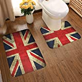 WEQDUJG Alfombras de baño Union Jack Flag UK Vintage Flags Memory de baño Juego de 2 de baño en Forma de U + Alfombras de baño absorbentes Suaves Antideslizantes