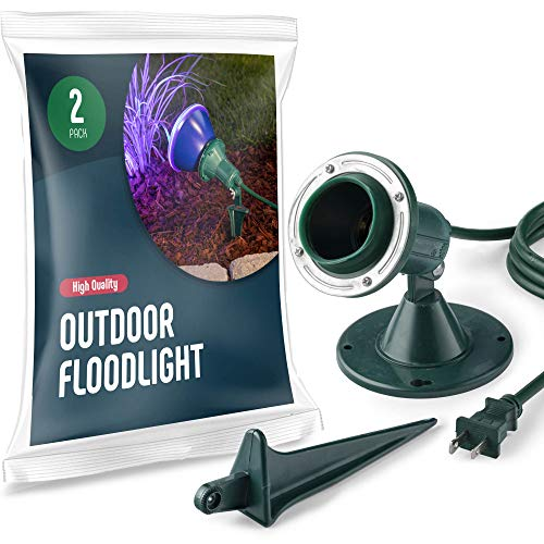Outdoor Flood Light Holder [Set of 2] Floodlight Fixture With Stake & Wall Mount Base - Durable, Weather Resistant/Heavy Duty - ETL Listed 6-Ft Cord, Green Landscape Lamp. Use With 120 Volt PAR38 Bulb