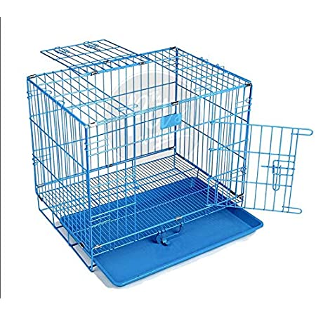 The Pets Company Double Door Folding Metal Dog Cage with Paw Protector, for Small Dogs and Puppies, Small, Blue, 24 Inch