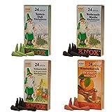 KNOX 078750-Conos (4 Paquetes de 24 Velas de Incienso, Abeto y Mirra, Manzana Asada, Navidad, Conos de Aroma), Multicolor, 2,5 x 1,2 x 1,2 cm