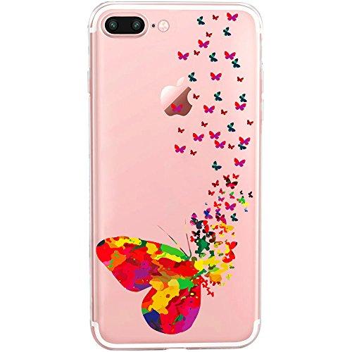 GIRLSCASES | Custodia compatibile per iPhone 8 Plus / 7 Plus | con motivo a farfalla | in colorato | Custodia protettiva trasparente in silicone