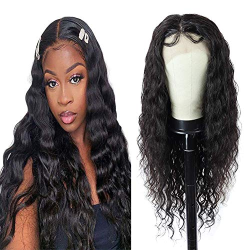 Human Hair Lace Front Wigs 13x4 Loose Deep Wave Lace Front Wigs for Black Women 150% Density Brazilian Virgin Hair Loose Deep Curly Lace Front Wigs with Baby Hair Pre Plucked Human Hair Wig (20 Inch)