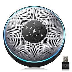 スピーカーフォン eMeet マイクスピーカー web会議用 最大8人まで対応 双方向会話 ワイヤレススピーカーフォン Bluetooth/USB/AUX対応 360˚全方向集音 エコー・ノイズのキャンセリング 高音質 位置