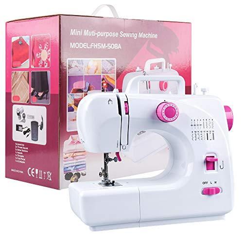 JRing Sewing Machine Portable Built in 16 Stitches 2 Speed Double Spread with LED Light Feet Pedal Storage Bag for Beginners Adults