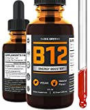 Vitamin B12 Liquid Sublingual Drops - Vegan B12 5000 mcg - for Boost Energy - Natural Cherry Flavor - Metabolism Booster for Weight Loss - B12 Methylcobalamin 2oz by BASIC GREENS