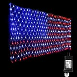 Lyhope American Flag lights, 390 LED USA Flag Net Lights 6.56ft x 3.28ft Low Voltage Patriotic Christmas Decorative Lights for Independence Day, Yard, Garden, Indoor & Outdoor Decor(Red,White,Blue)