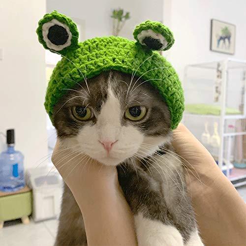 Sombrero de rana de dibujos animados, hecho a mano, de lana de punto, para gato, perro, disfraz de mascota, gorro de cosplay, decoracin de Halloween