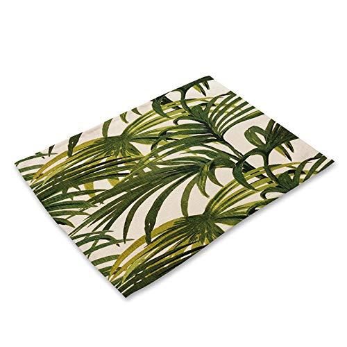 Manteles individuales mesa,6 uds., Mantel individual de cocina con diseño de plantas tropicales, posavasos para mesa de comedor, alfombrillas de algodón y lino, alfombrilla para taza, 42 * 32 cm, dec