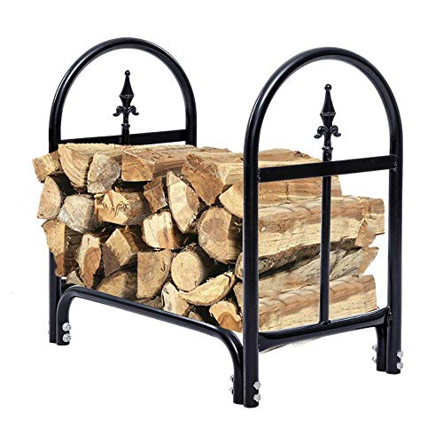 Review 2 Feet Outdoor Steel Firewood Log Rack Wood Storage Holder Black Heavy Duty