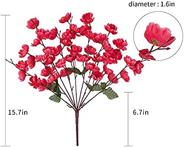 VRCT Polyester Fabric and Plastic Artificial Cherry Blossom Flower (Size 20 inches ,in 1 Bunch 7 String ) it is Set of 4 Pice