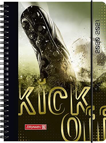 """BRUNNEN 1072150101 """"Fußball"""", Wochenkalender/Schülerkalender 2020/2021, 2 Seiten = 1 Woche , Blattgröße 14,8 x 21 cm , A5 , PP-Einband"""