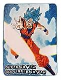 Dragon Ball Super Goku Super Saiyan Blue Fleece Throw Blanket | Features Goku's Super Saiyan God Super Saiyan Form | 60 x 45 Inches