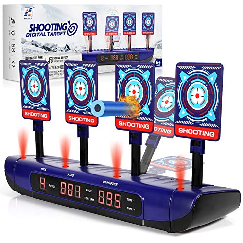 Electronic Shooting Target for Foam Dart Games, Electric Target Scoring Auto Reset Digital with Light and Sound, Perfect for Nerf Guns Blaster N-Strike Elite/Mega/Rival - Educational Gift for Kids 6+