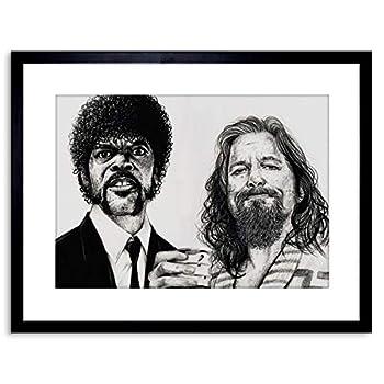 Pulp Fiction Big Lebowski Drawing Art Framed Art Print by W.Maguire F97X12462