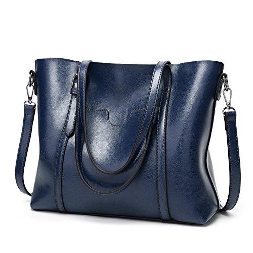 DEERWORD Damen Umhängetaschen Frau Handtaschen Lack PU-Leder Elegant Tote Schultertaschen Blau