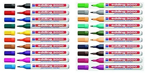 20x Edding Permanentmarker 3000 in 20 Farben