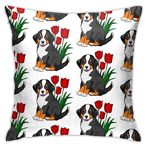 AEMAPE Bernese Mountain Dog Fundas de Almohada para Regalos - Funda de Almohada Pooh Funda de cojín para decoración de sofá - Regalo Divertido con Cita de Amistad para el Mejor Amigo, 18x18in-7RP