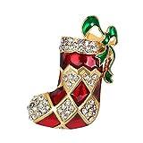 Demarkt Broche de la Forma del Calcetín Nuevo Navidad Decoración de Fiestas Pin Cumpleaños Party Boda Regalo 4.6 * 3.1CM 1PCS