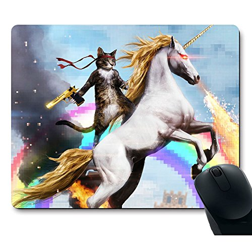 Apottwal MP-0003 Funny Cute Cat Dressed as Rambo with Gun Riding a Glowing Red Eyes Fire Breathing Unicorn Mouse Pad