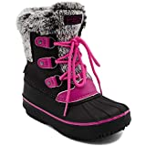 LONDON FOG Girls Tottenham Cold Weather Snow Boot BK/PK Size 12 Black/Pink