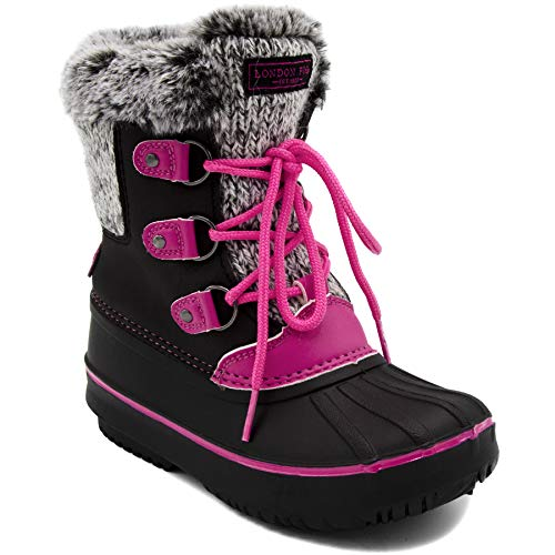 LONDON FOG Girls Tottenham Cold Weather Snow Boot BK/PK Size 2 Black/Pink