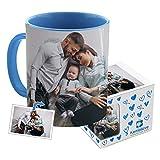 Kembilove Taza de Desayuno Personalizada con Foto - Regalo Original Personalizado con Foto - Tazas Personalizadas con el Interior en Color Azul - Regalo para Cumpleaños, Aniversarios, Eventos