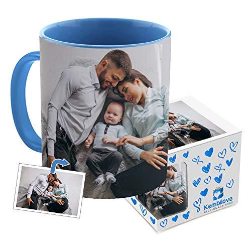 Kembilove Taza de café Personalizada con Foto - Regalo Original Personalizado con Foto - Tazas Personalizadas con el Interior en Color Azul y Caja Personalizada - Regalo Original Parejas