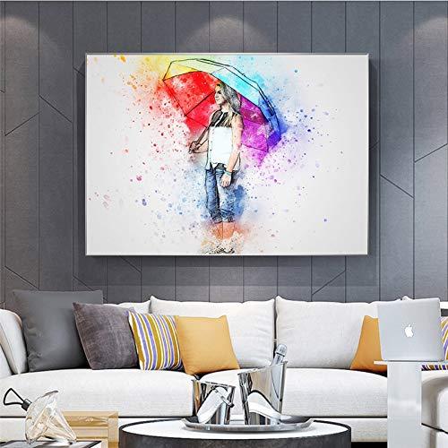 N / A Pintura sin Marco Decoración de Personajes Femeninos Pintura de Lienzo para el hogar con Paraguas póster Arte de la Pared decoración de la salaZGQ6144 50X75cm