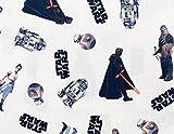 Star Wars 89941MSA - Tela infantil (100% algodón, 147 cm de ancho, diseño de Darth Vader, R2-D2, Kylo Ren sobre fondo blanco), color blanco