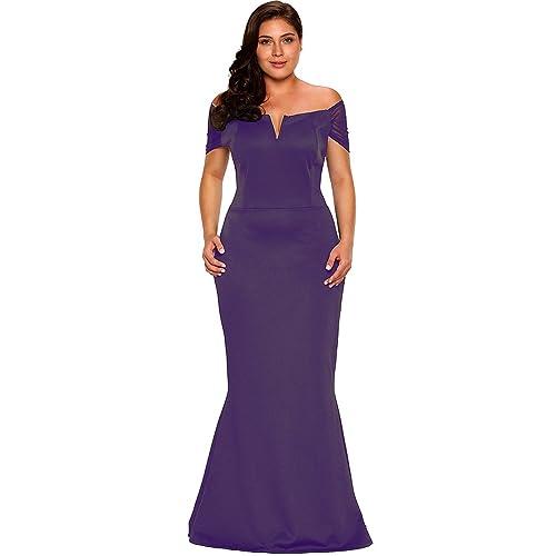 3f08b8d084e14 Lalagen Women s Plus Size Off Shoulder Long Formal Party Dress Evening Gown