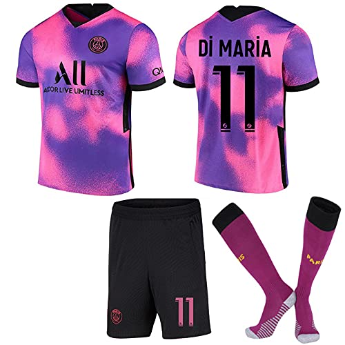 ACJIA Kit de Distancia # 11 PSP Kit 2021 22 4to Jersey Kit Pink/Purple Football T-Shirt Uniforme para el Fan Regalo Campeón de Entrenamiento Jersey Jersey Souvenir Adultos y niños para fanáticos,18