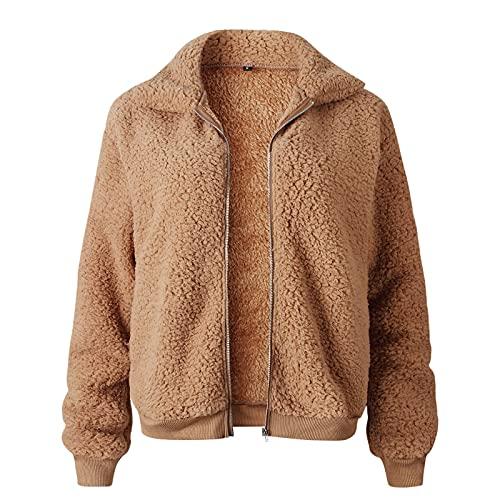 BBBA Women's Coat Lapel Fleece Fuzzy Faux Shearling Zipper Coats Warm Winter Oversized Outwear Jackets Brown