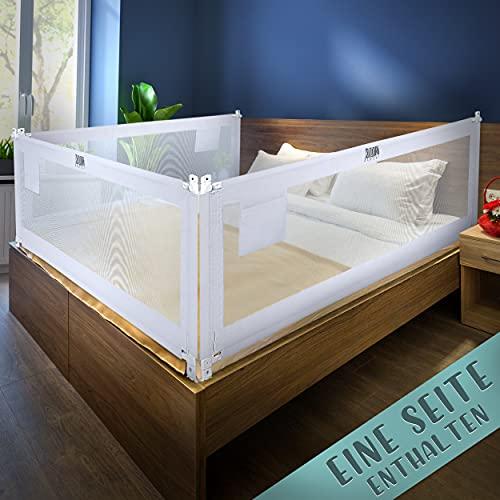 Kids Supply - Barrera de cama (200 x 80 cm), rejilla de protección de cama extremadamente segura y regulable en altura [70 – 90 cm], protección anticaídas, cama para niños y camas de padres