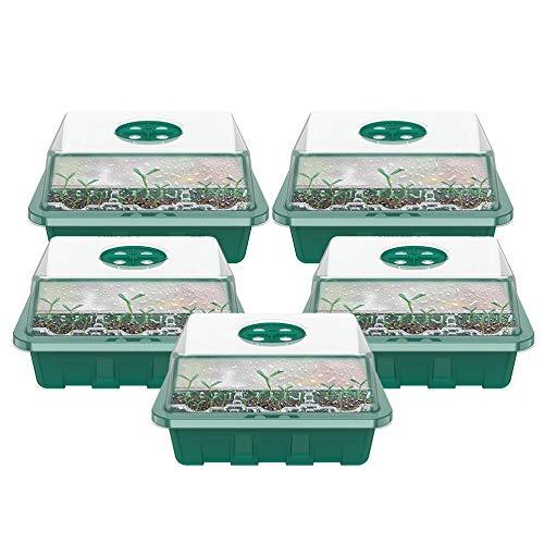 ATopoler 5 Piezas Bandeja Semillas Bandejas de Germinacion en Plástico con 12 Orificios de Drenaje y Ventilación Ajustable para Plantas Florini (Verde)
