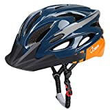 JBM Adult Cycling Bike Helmet Specialized for Mens Womens Red/Blue/Yellow (Dark Blue & Orange, Adult)