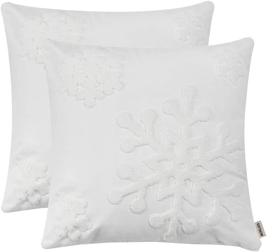 Beige Santa, Reindeer and Snowflake Christmas Pillow Covers