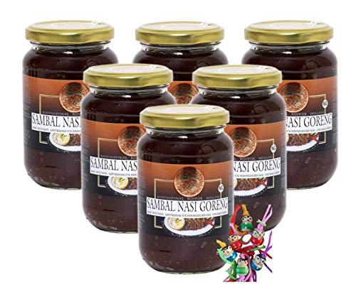 yoaxia ® - 6er Pack - [ 6x 360g ] KONINGSVOGEL Sambal Nasi Goreng / Würzige Sauce für gekochten Reis + ein kleines Glückspüppchen - Holzpüppchen
