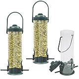 BELLE VOUS Comedero para Pájaros (3 Paquete) - 29x14cm (HxW) Comedero Colgante para Aves para Pájaros Pequeños - Cada Comedero para Pájaros Salvajes Tiene 2 Estaciones de Alimentación