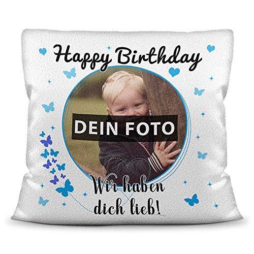 Print Royal Kissen mit eigenem Bild, Namen und Alter für einen Junge/Foto-Collage als Geschenkidee/Zier-Kissen/Deko-Kissen/Weiß - Flauschig inkl. Füllung