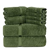 Towel Bazaar Luxury Hotel and Spa Quality Dobby Border 100% Turkish Cotton Eco-Friendly and Highly Absorbent Towel Set (Set of 8, Moss Green)