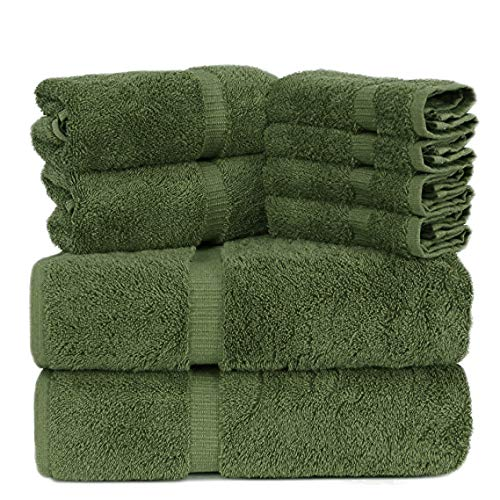 Towel Bazaar Premium Turkish Cotton Super Soft and Absorbent Towels (8-Piece Towel Set, Moss Green)