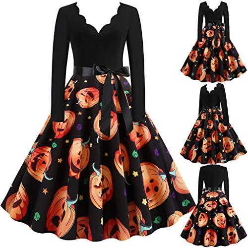 Halloween Kostüm Damen kürbis Vintage Retro A Linie Elegant Lange Ärmel Kürbis Printed Skater Kleider Cocktailkleid Party Kleid (Orange-8, L)