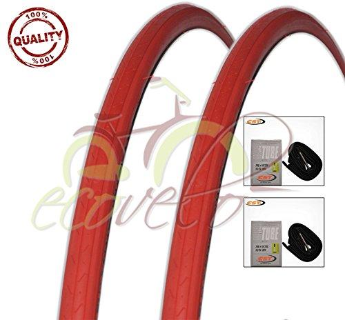 EBA28RRC Kit 2 Due COPERTONI + Due CAMERE d'Aria Bici Ciclo Scatto Fisso Rosso 700X23C