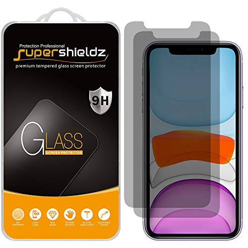 (2 Pack) Supershieldz for Apple iPhone 11 and iPhone XR (6.1 inch) (Privacy) Anti Spy Tempered Glass Screen Protector, 0.33mm, Anti Scratch, Bubble Free